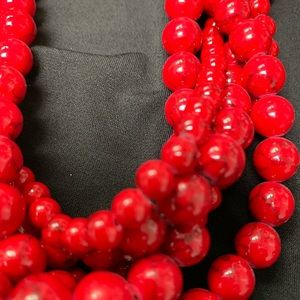 Red turquoise beaded multi-strand necklace